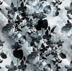 Černo-bílé podkreslené květy-sublimační digitální tisk | Funkční úplet TORINO 140 gsm, GARZATO 200gsm- funkční úplet počesaný, Kočárkovina , LYCRA 200, Micropeach, Softshell jarní 285 gsm, Softshell letní pružný 220gsm, Softshell zimní 320 gsm