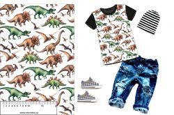 Dinosaurové na bílé-sublimační digitální tisk mavaga design