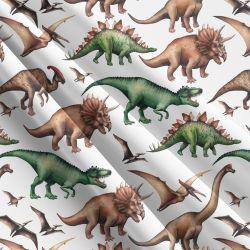 Dinosaurové na bílé-sublimační digitální tisk | Funkční úplet TORINO 140 gsm, GARZATO 200gsm- funkční úplet počesaný, Kočárkovina , LYCRA 200, Micropeach, Softshell jarní 285 gsm, Softshell letní pružný 220gsm, Softshell zimní 320 gsm