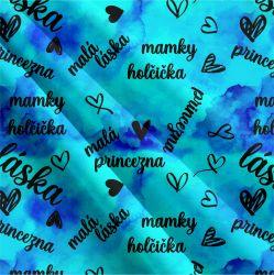 Mamky holčička modrá-sublimační digitální tisk | Funkční úplet TORINO 140 gsm, GARZATO 200gsm- funkční úplet počesaný, Kočárkovina , LYCRA 200, Micropeach, Softshell jarní 285 gsm, Softshell letní pružný 220gsm, Softshell zimní 320 gsm, DOLOMITY
