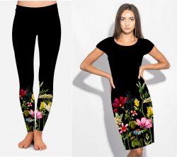 PANEL na šaty –květinová bordura bavlna+elastan