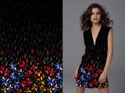 PANEL na šaty –malované květy na černé - bavlna+elastan