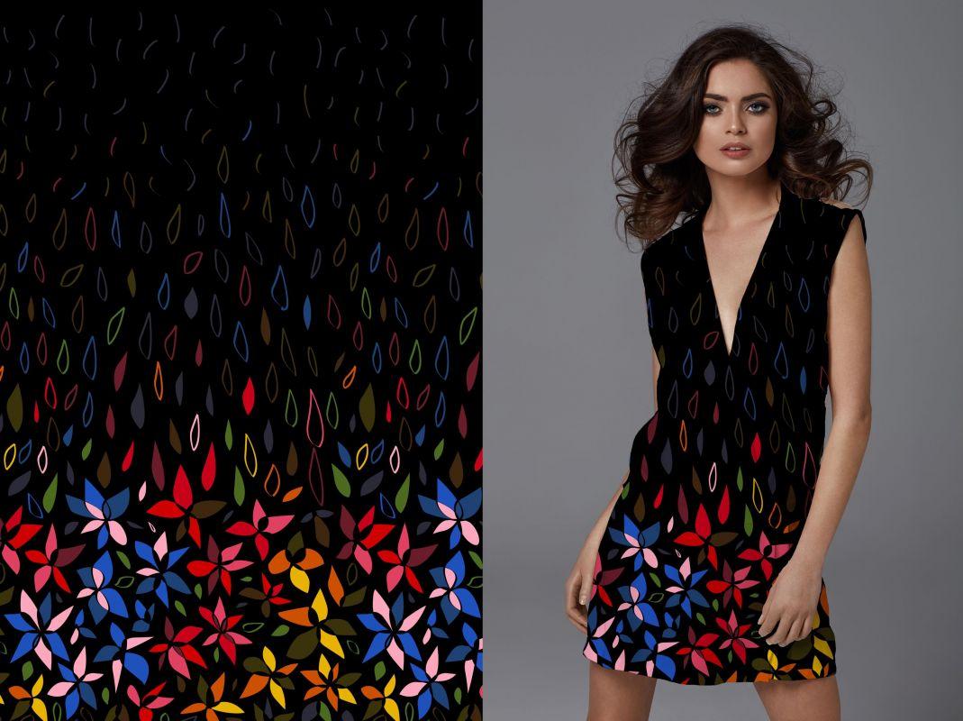 PANEL na šaty –malované květy na černé - bavlna+elastan EU-úplety atest pro děti
