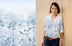 PANEL na triko –zimní květy - bavlna+elastan