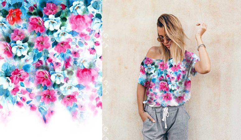 PANEL na triko –akvarelové květy - bavlna+elastan EU-úplety atest pro děti