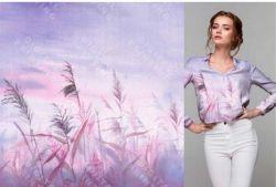 PANEL na triko –rákosí na fialkové- bavlna+elastan
