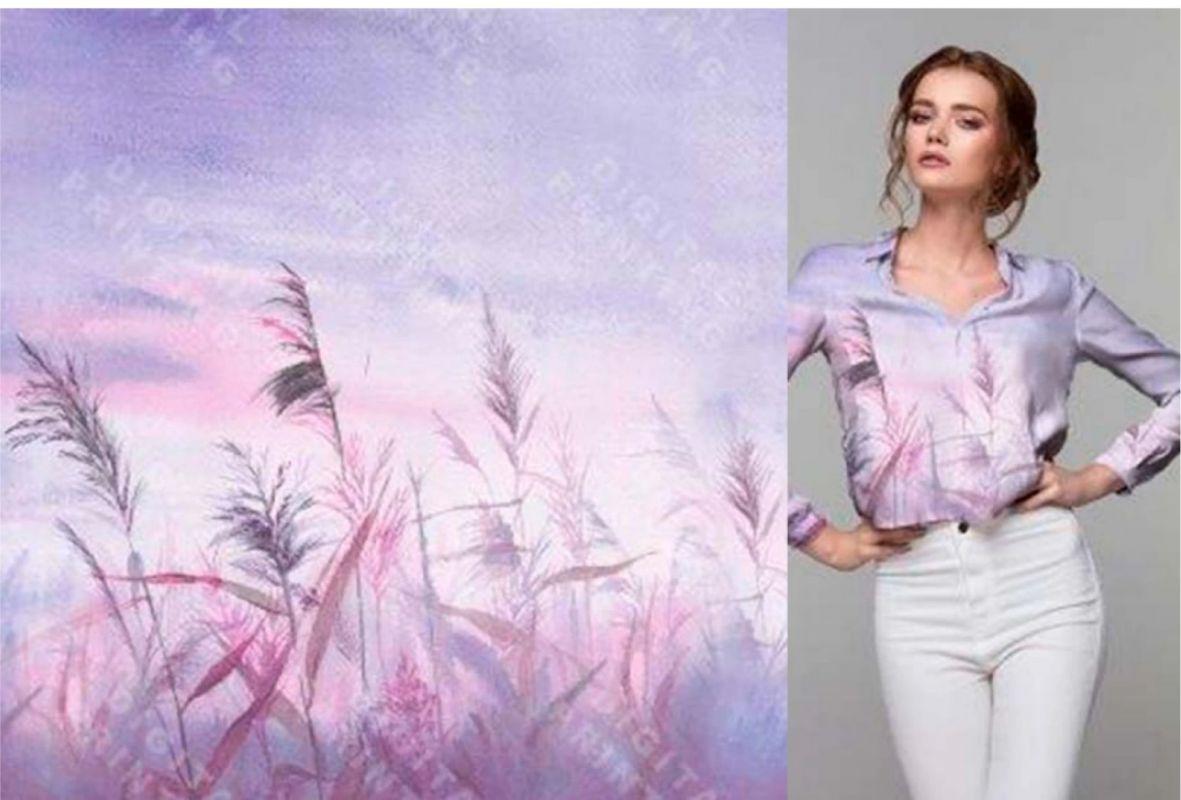 PANEL na triko –rákosí na fialkové- bavlna+elastan EU-úplety atest pro děti