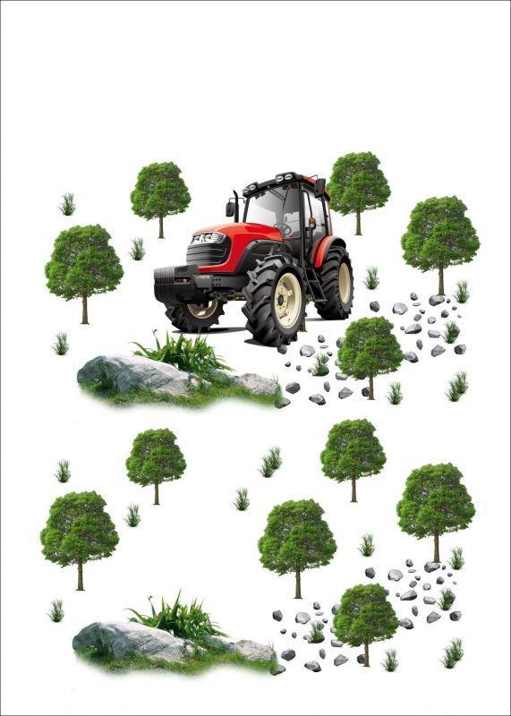 Panel triko -červený traktor ( bavlna+el ) vyrobeno v EU