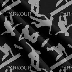 Parkour šedo-černá -sublimační digitální tisk | Funkční úplet TORINO 140 gsm, GARZATO 200gsm- funkční úplet počesaný, Kočárkovina , LYCRA 200, Micropeach, Softshell jarní 285 gsm, Softshell letní pružný 220gsm, Softshell zimní 320 gsm