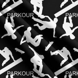 Parkour bílo-černá -sublimační digitální tisk | Funkční úplet TORINO 140 gsm, GARZATO 200gsm- funkční úplet počesaný, Kočárkovina , LYCRA 200, Micropeach, Softshell jarní 285 gsm, Softshell letní pružný 220gsm, Softshell zimní 320 gsm