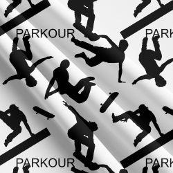Parkour černo-bílát -sublimační digitální tisk | Funkční úplet TORINO 140 gsm, GARZATO 200gsm- funkční úplet počesaný, Kočárkovina , LYCRA 200, Micropeach, Softshell jarní 285 gsm, Softshell letní pružný 220gsm, Softshell zimní 320 gsm