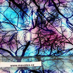 Teplákovina modro-fialové VĚTVE- 260 gsm EU-úplety atest pro děti