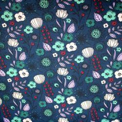 Jednolícní úplet malované květy na modré -200 gsm