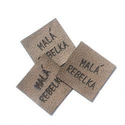 """Koženkový štítek gravír - """" malá rebelka hnědy """""""