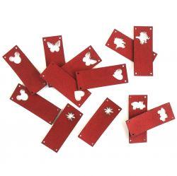 Koženkový štítek vyřezávaný malý- cihlová 125 -varianty | Auto, Dinosaurus, Kytička, Mickey, Motýl, Srdíčko, Tlapka