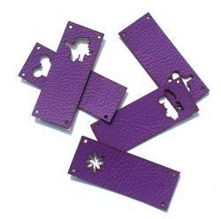 Koženkový štítek vyřezávaný malý- fialový 74-varianty | Auto, Dinosaurus, Kytička, Mickey, Motýl, Srdíčko, Tlapka