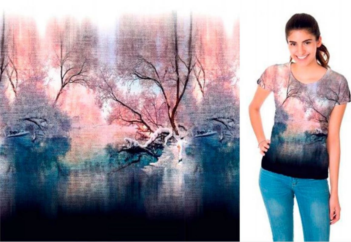PANEL na triko –stromy na plátně- bavlna+elastan EU-úplety atest pro děti