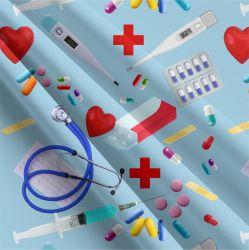 Reálný medical modrá -sublimační digitální tisk | DOLOMITY, Funkční úplet TORINO 140 gsm, GARZATO 200gsm- funkční úplet počesaný, Kočárkovina , LYCRA 200, Micropeach, Softshell jarní 285 gsm, Softshell letní pružný 220gsm, Softshell zimní 320 gsm