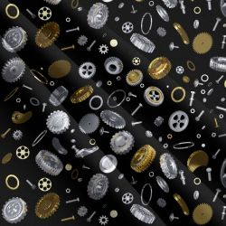 Šroubky a matičky na černé -sublimační digitální tisk mavaga design