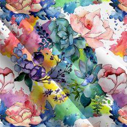 Teplákovina akvarelové květy - 270 gsm