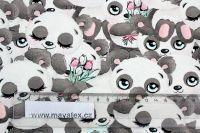 Jednolícní úplet roztomilé pandy- 190 gsm vyrobeno v Turecku