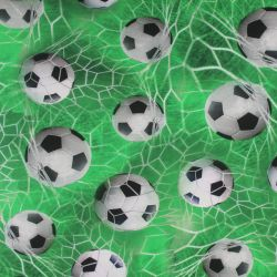Jednolícní úplet zelený mix s fotbalovými balony- 220 gsm
