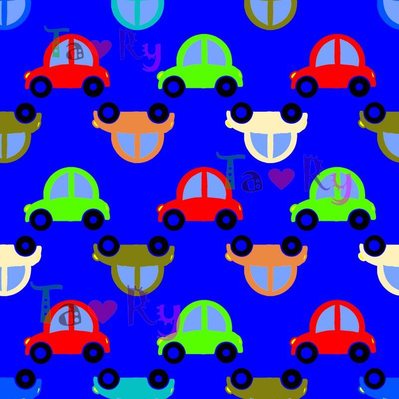 Autorský tisk TARY -autíčka -sublimační digitální tisk mavaga design