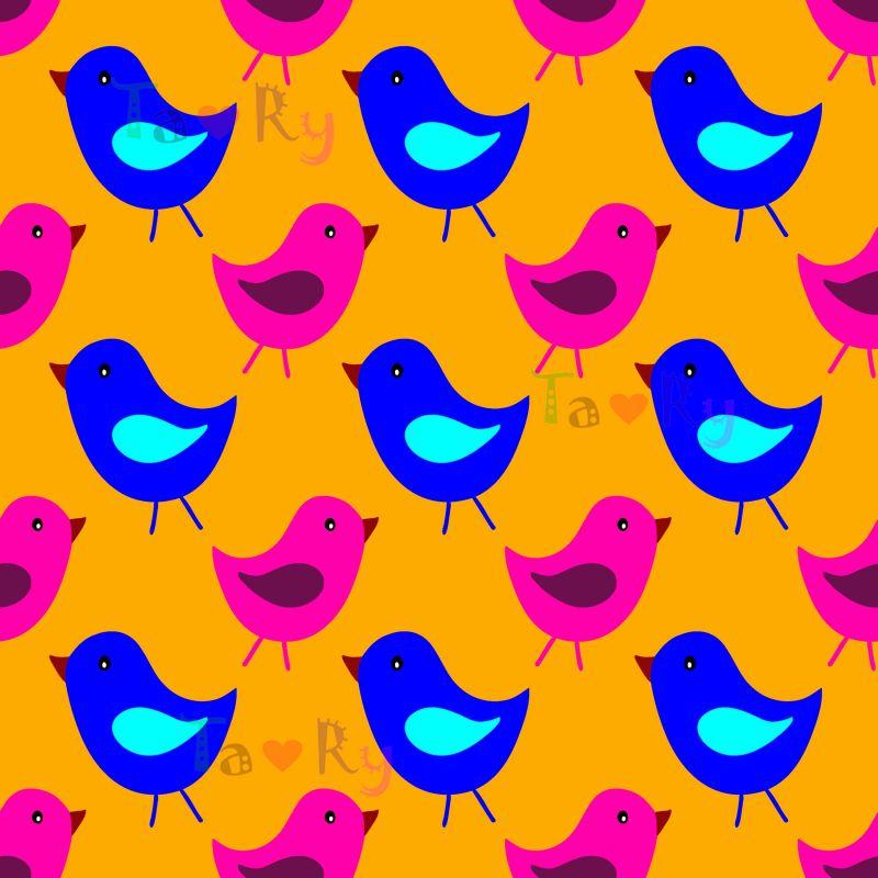 Autorský tisk TARY -ptáčci -sublimační digitální tisk mavaga design
