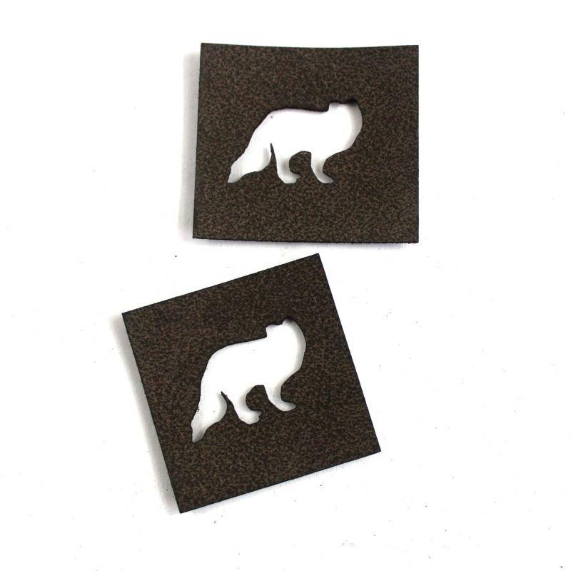 """Koženkový štítek výsek - """"vlk """" vyrobeno v EU"""