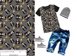 Teplákovina vykulené opice na šedé - 240 gsm -MAVATEX EU-úplety atest pro děti