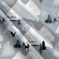 Zasněžené hory šedé- digitální tisk | Funkční úplet TORINO 140 gsm, GARZATO - funkční úplet počesaný, LYCRA 200, DOLOMITY, Softshell zimní 320 gsm, Softshell jarní 285 gsm, Softshell letní pružný , Kočárkovina , Micropeach