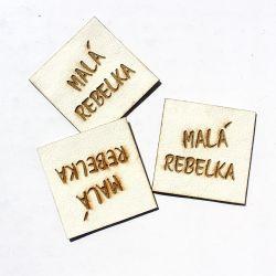 """Koženkový štítek gravír - """" malá rebelka světlá """""""