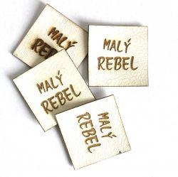 """Koženkový štítek gravír - """" malý rebel světlá """""""