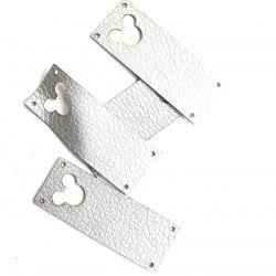 Koženkový štítek vyřezávaný malý- stříbrný varianty | Kytička, Mickey, Motýl, Srdíčko