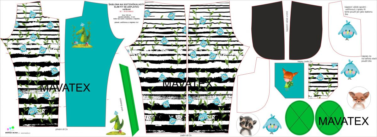 Panel na softshelové kalhoty -DESEN 5 mavaga design
