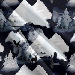 Zasněžené hory tmavé digitální tisk | Funkční úplet TORINO 140 gsm, GARZATO - funkční úplet počesaný, LYCRA 200, DOLOMITY, Softshell zimní 320 gsm, Softshell jarní 285 gsm, Softshell letní pružný , Kočárkovina , Micropeach