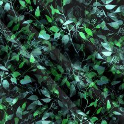Zelené lístky- digitální tisk | Funkční úplet TORINO 140 gsm, GARZATO - funkční úplet počesaný, LYCRA 200, DOLOMITY, Softshell zimní 320 gsm, Softshell jarní 285 gsm, Softshell letní pružný , Kočárkovina , Micropeach