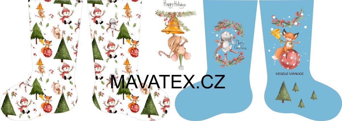 PANEL vánoční punčocha- desén 2 vyrobeno v EU