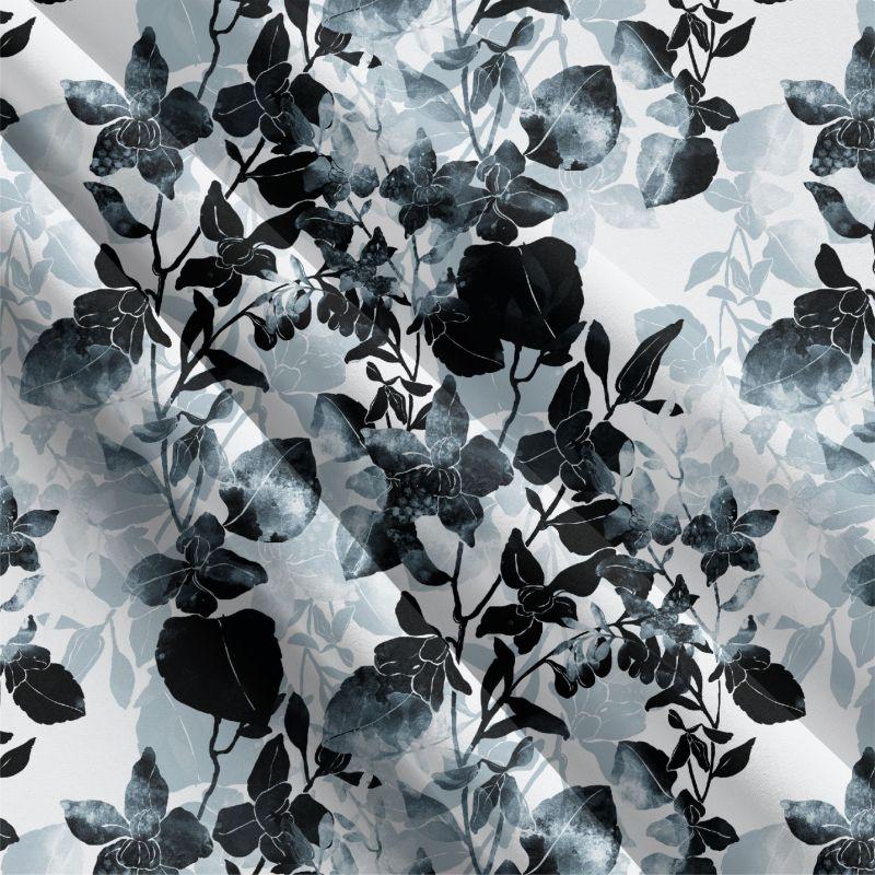 Teplákovina černo-bílé zimní květy na tmavě modré- 270 gsm EU-úplety atest pro děti