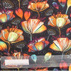 Teplákovina astécké květy - 270 gsm vyrobeno v EU