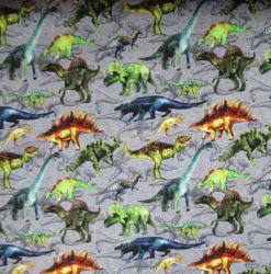 Teplákovina malovaní dinosaurové na šedé – 270 gsm