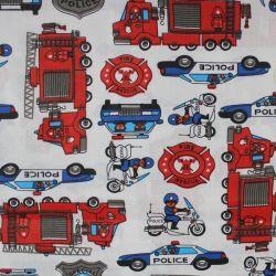 Dětská látka s hasiči a policisty