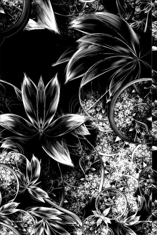 Fraktál černo-bílý-sublimační digitální tisk mavaga design