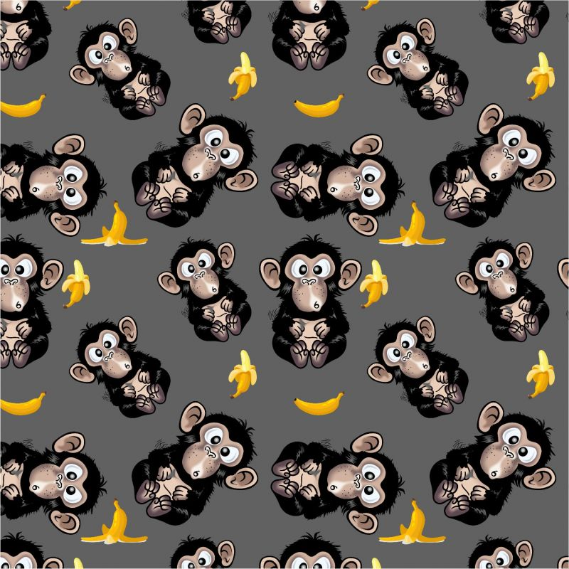 Jednolícní úplet opičky MAVATEX na šedé -180sm EU-úplety atest pro děti