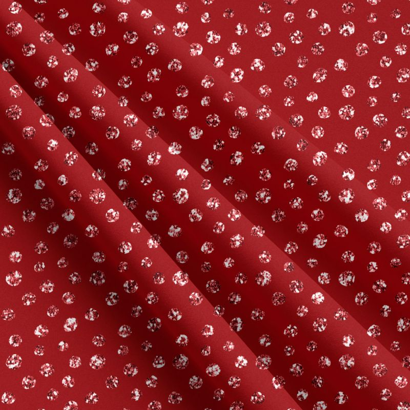 Glitrový puntík na červené-sublimační digitální tisk mavaga design