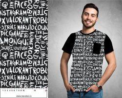 Populární texty na černé- digitální tisk mavaga design