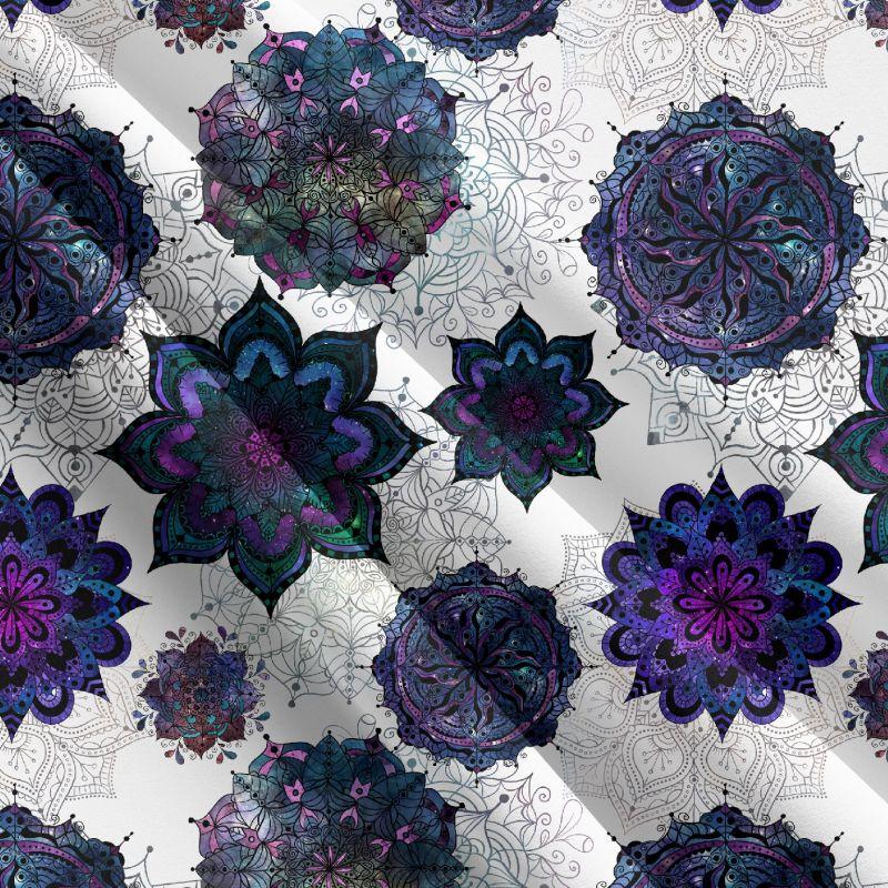 Glitrový mandaly na bílé-sublimační digitální tisk mavaga design