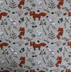 Jednolícní úplet lišky a zajíci -210 gsm