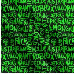 Zelené texty- digitální tisk | Funkční úplet TORINO 140 gsm, GARZATO - funkční úplet počesaný, LYCRA 200, DOLOMITY, Softshell zimní 320 gsm, Softshell jarní 285 gsm, Softshell letní pružný , Kočárkovina , Micropeach