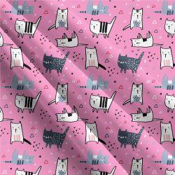 Roztomilé kočičky na růžové -sublimační digitální tisk   Funkční úplet TORINO 140 gsm, GARZATO 200gsm- funkční úplet počesaný, Kočárkovina , LYCRA 200, Micropeach, Softshell jarní 285 gsm, Softshell letní pružný 220gsm, Softshell zimní 320 gsm, DOLOMITY